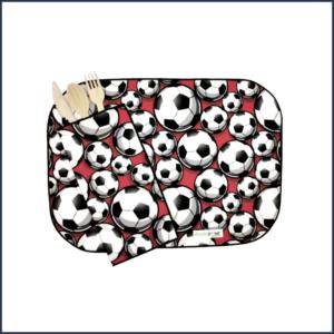 Duo-Napperon-serviette-pochette-polyester-Ecolozone-Motif-soccer-Fait-au-Quebec-Au-fil-des-saisons