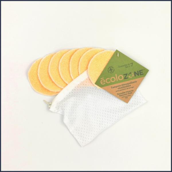 Ensemble de 7 tampons démaquillants colorés Écolozone avec pochette de lavage - Au fil des saisons