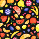 P11 - Motif - Fruits colorés (noir) - Au fil des saisons