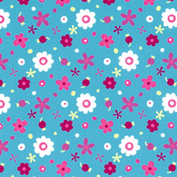 P12 - Motif - Fleurs (turquoise) - Au fil des saisons