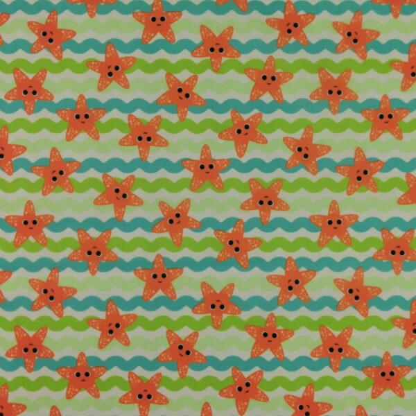 P20 - Motif - Étoiles de mer et vagues (aqua) - Au fil des saisons