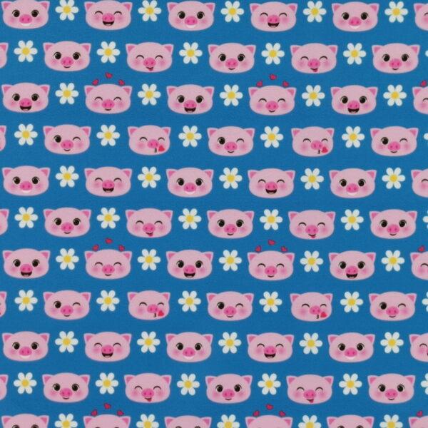 P22 - Motif - Petits cochons et marguerites (bleu) - Au fil des saisons