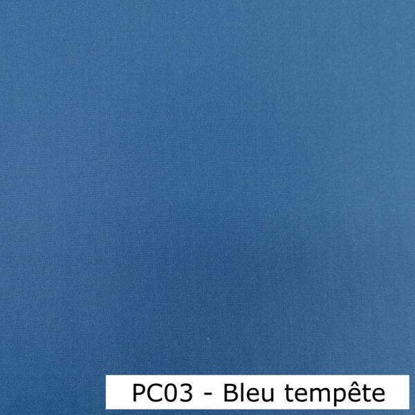PC03 - Polyester-coton uni Bleu tempête - Au fil des saisons