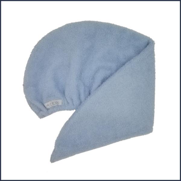 Serviette pour cheveux en ratine de coton bleu pâle - Fait au Québec - Au Fil des Saisons