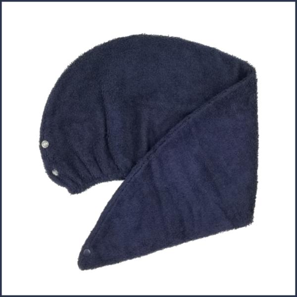 Serviette pour cheveux en ratine de coton marine - Fait au Québec - Au Fil des Saisons