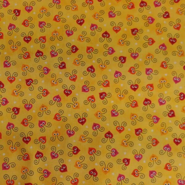 206 - Motif - Cœurs (jaune) - Au fil des saisons