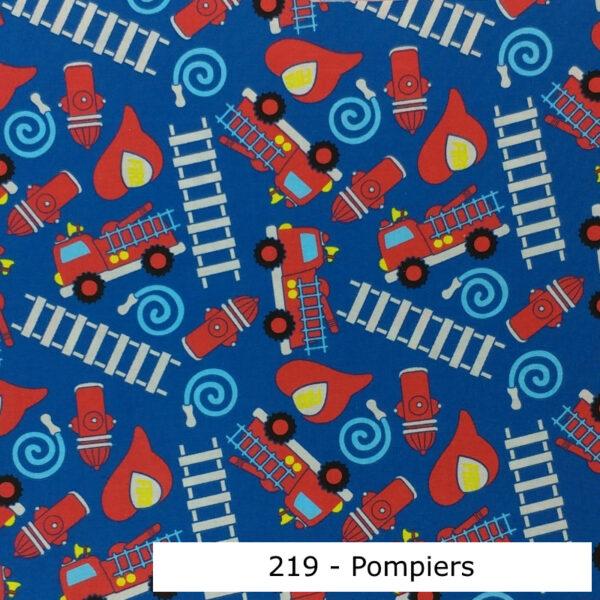 219 - Motif - Pompiers (bleu) - Au fil des saisons