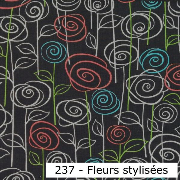 237 - Motif - Champ de fleurs (noir) - Au fil des saisons