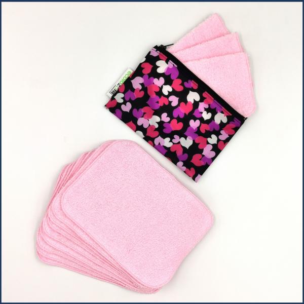 Lingettes-multiusages-rose-avec Pochette Zéro déchet-Coeurs-Fait-au-Québec-Au-Fil-des-Saisons