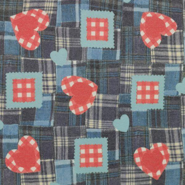 Motif pyjama Coeurs et carreaux (bleu) - Fait au Québec - Au Fil des Saisons