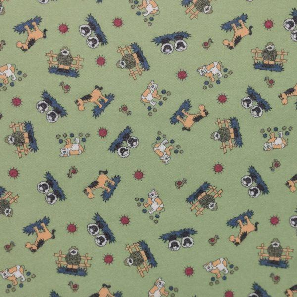Motif pyjama La ferme (vert) - Fait au Québec - Au Fil des Saisons