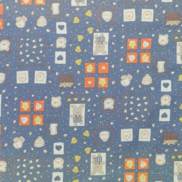 Motif pyjama Lapins et oursons (bleu) - Fait au Québec - Au Fil des Saisons