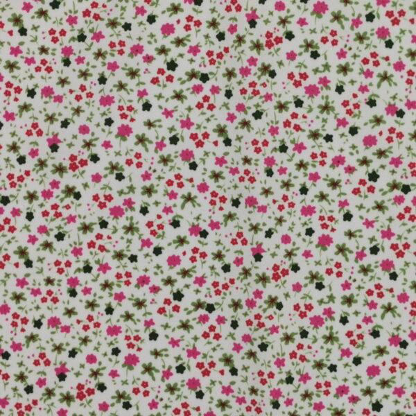 P24 - Motif - Fleurettes - fushia (blanc) -Au fil des saisons